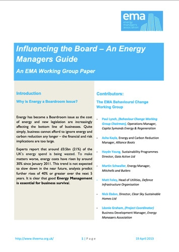 Energy Manager's Guide to Influencing the Board